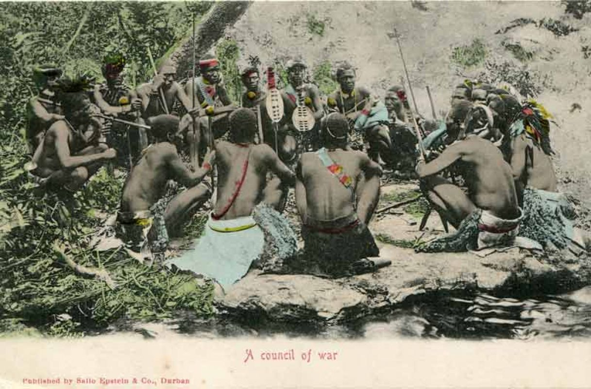 Council of war, South Africa around 1900 - Kriegsrat, historische Ansichtskarte, Südafrika um 1900